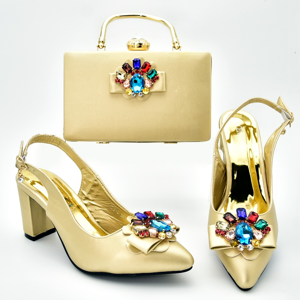 2.7 low heel lady sandal shoes with clutches bag with big colorful stones in gold color italian shoes and bag for party SB8377-52.7 low heel lady sandal shoes with clutches bag with big colorful stones in gold color italian shoes and bag for party SB8377-5