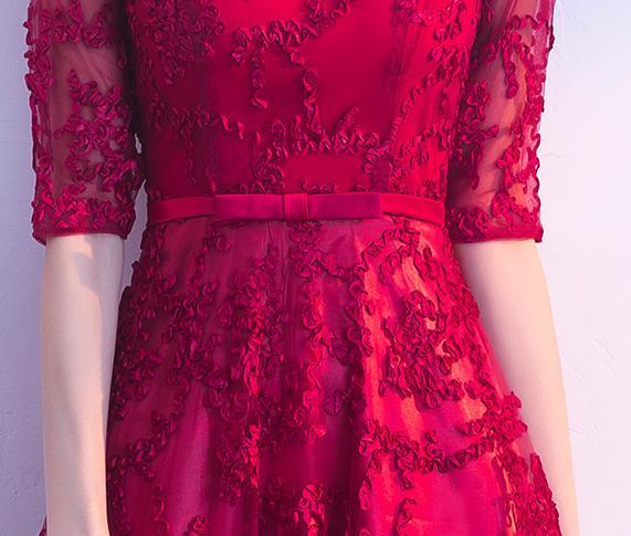 BANVASAC 2018 Illusion col haut une ligne dentelle Appliques longues robes de soirée fête arc ceinture demi manches robes de bal - 5