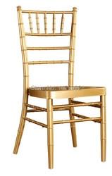 Venta al por mayor calidad fuerte de aluminio de oro silla chiavari para boda, fiesta