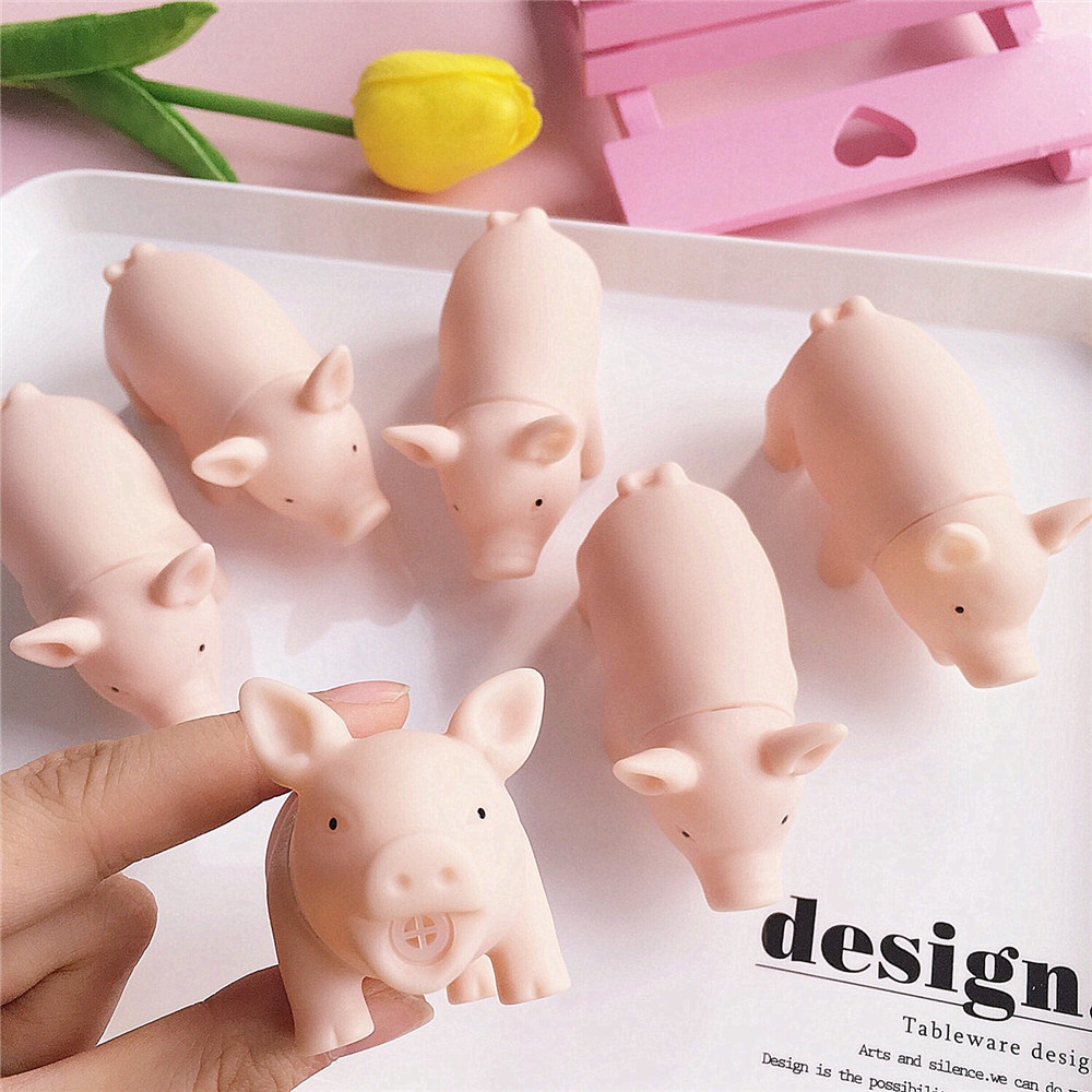 6pcs Set Rubber Detachable Pink Mini Pig Puppet With