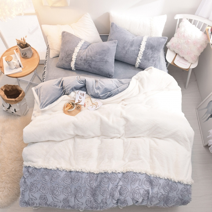 US $104.58 37% OFF|Winter Baby cashmere Bedding Set Duvet Cover Sets Bed  Skirt Adults Kids Bedroom Sets King/Queen/Full/Twin Size Bedlinen-in  Bedding ...