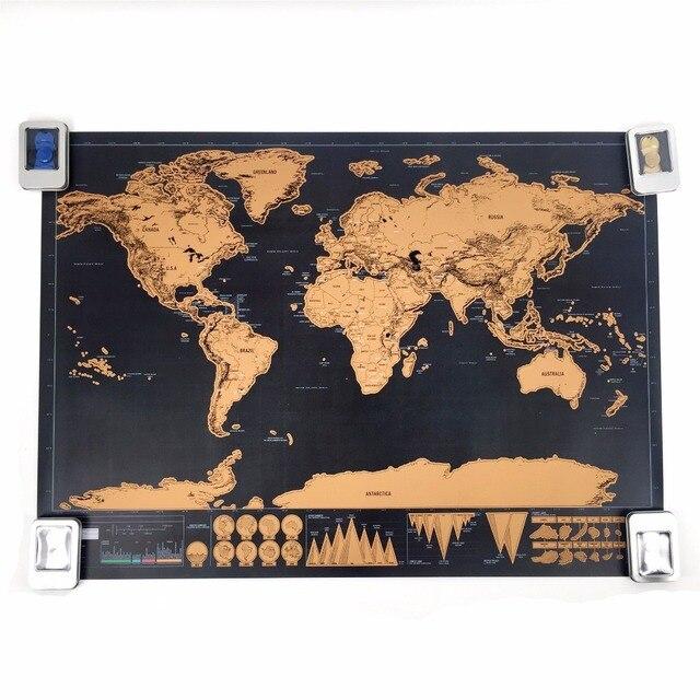 Прямая доставка Высокое качество sctarch off Deluxe карта Персонализированная карта мира мини для путешествий для постер для домашнего декора