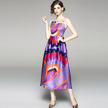 PADEGAO Spring Summer 2019 Dress Purple Sleeveless Maxi Long Hollow Out Beach Feather Print Sundress Vestidos For Female