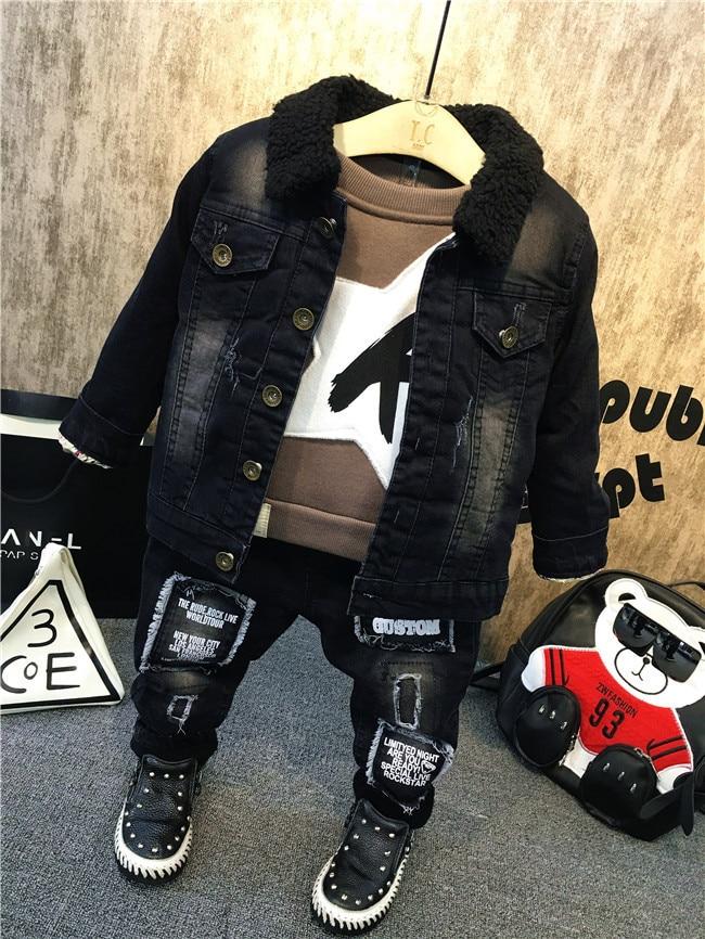 3pcs boys winter thick velvet clothing set kids black warm jacket khaki shirt and ripped jean