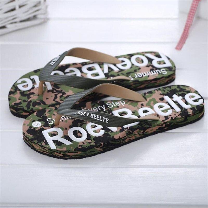 Летний Для мужчин Камуфляжная обувь Сандалии для девочек Мужской тапочки помещении или на открытом воздухе Сланцы Повседневное мужская пляжная обувь Размер 40-44 - Цвет: Зеленый