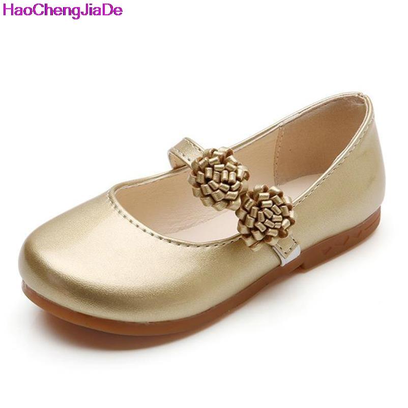 HaoChengJiaDe Insole 15.7-22cm Children Girl Shoes 2017 Autumn Fashion Flower Baby Girl Shoes Solid Soft Bottom Cute Kids Shoes