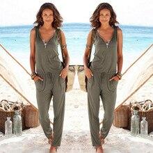 Sexy Sleeveless jumpsuit women long romper summer women lady bodysuit trousers b