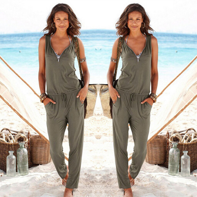 7fc0b5ba49 Sexy Sleeveless jumpsuit women long romper summer women lady bodysuit  trousers beach jumpsuit coveralls playsuit female frock
