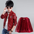 2016 New Fashion Winter Children Jacket  PU leather  Plus Velvet  Zipper Cardigan Coat  Embroidery Boys Jacket  For 3-12 year