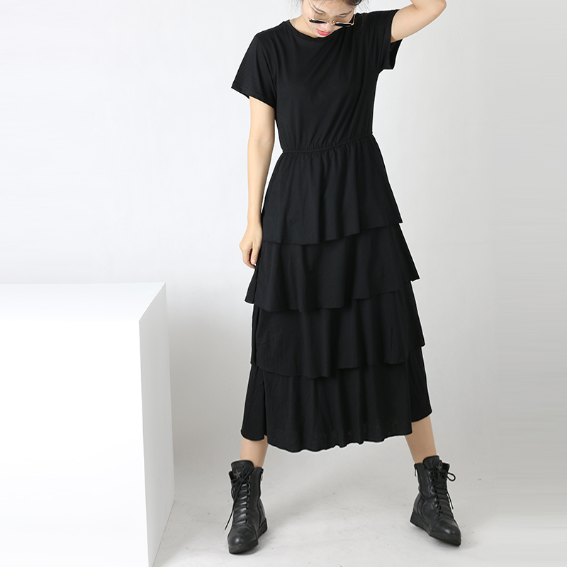 Womens Ruffles Long Dress 2017 Summer Short Sleeve Cake Dresses Casual Long Dress Ruffled Dress Women Clothing