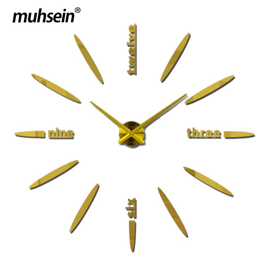 130 cm Fábrica 2019 Relógio de Parede Acrílico + EVR + Espelho de Metal Super Grandes Relógios Relógios hot DIY decoração de casamento Frete grátis