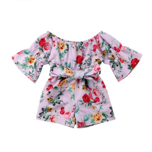 Summer Toddler Kids Girls Holiday Floral Romper Jumpsuit Princess Clothes Baby Girl Off Shoulder Bowknot Rompers Overall Sunsuit