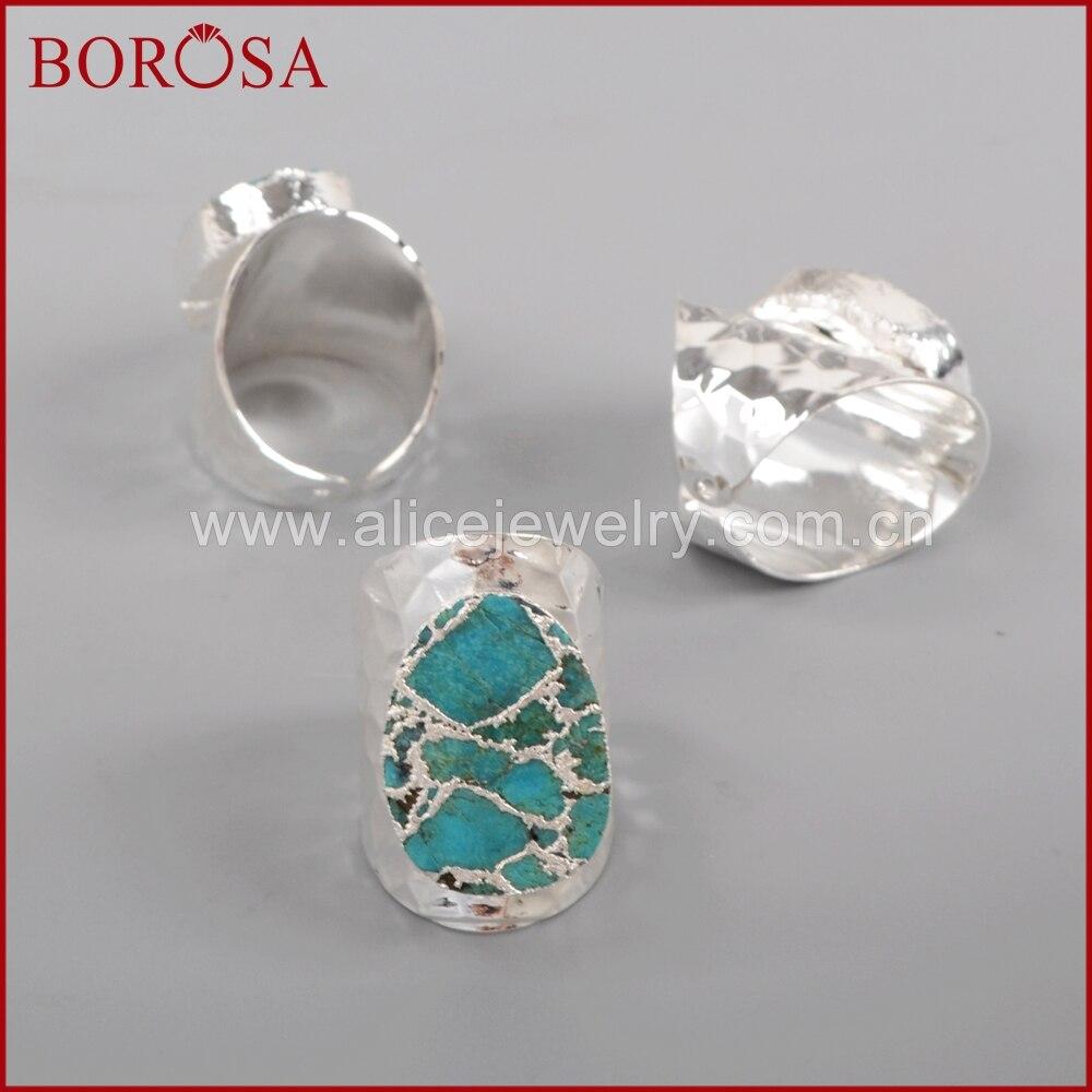 BOROSA sudraba krāsa 100% dabiskā zilā akmens Druzy joslas - Modes rotaslietas - Foto 5