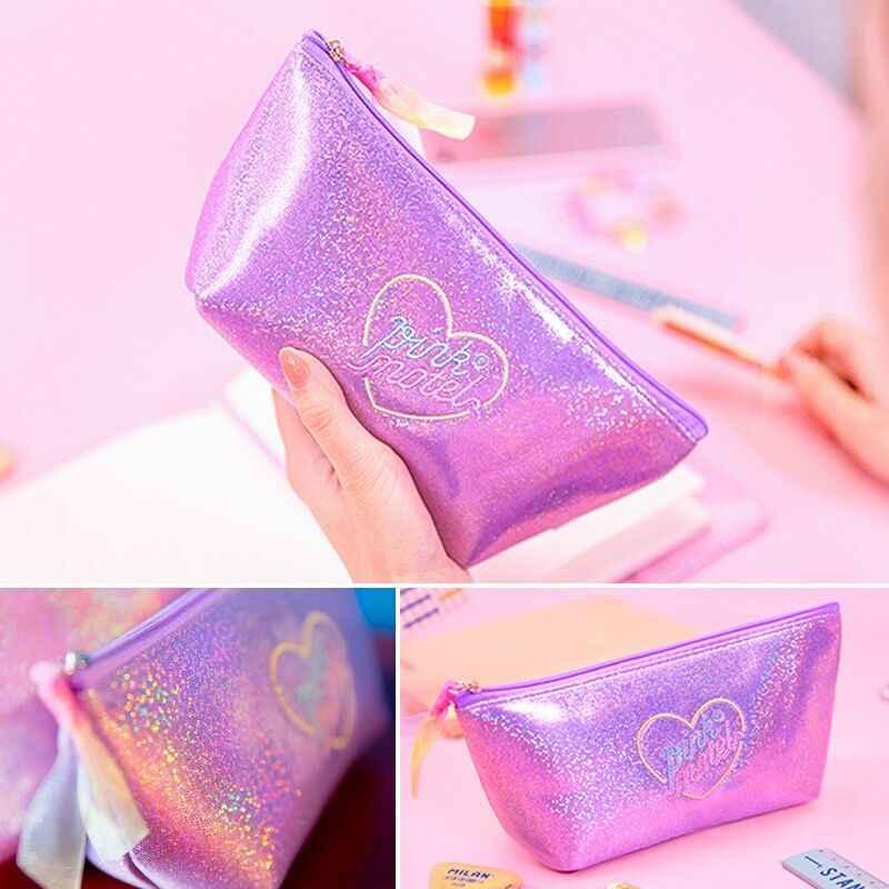 Ins Harajuku Paillettes Cosmetic Custodie Cotone Donne Make up Bag Girly Cuore Della Corea Giappone Borsa Del Sacchetto Del Sacchetto Della Cassa di Matita Studente Bentoy
