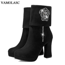 VAMOLASC New Women Autumn Winter Warm Faux Suede Mid Calf Boots Sexy Crystal Square High Heel Boots Women Shoes Plus Size 34-43