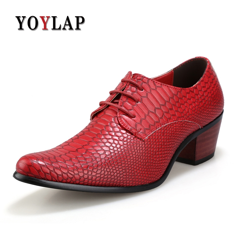 Formal Business Party Dress Mens Shoes High Heels Men Leather Platform Shoes For Wedding Shoes Men Fashion Crocodile Shoes Brand