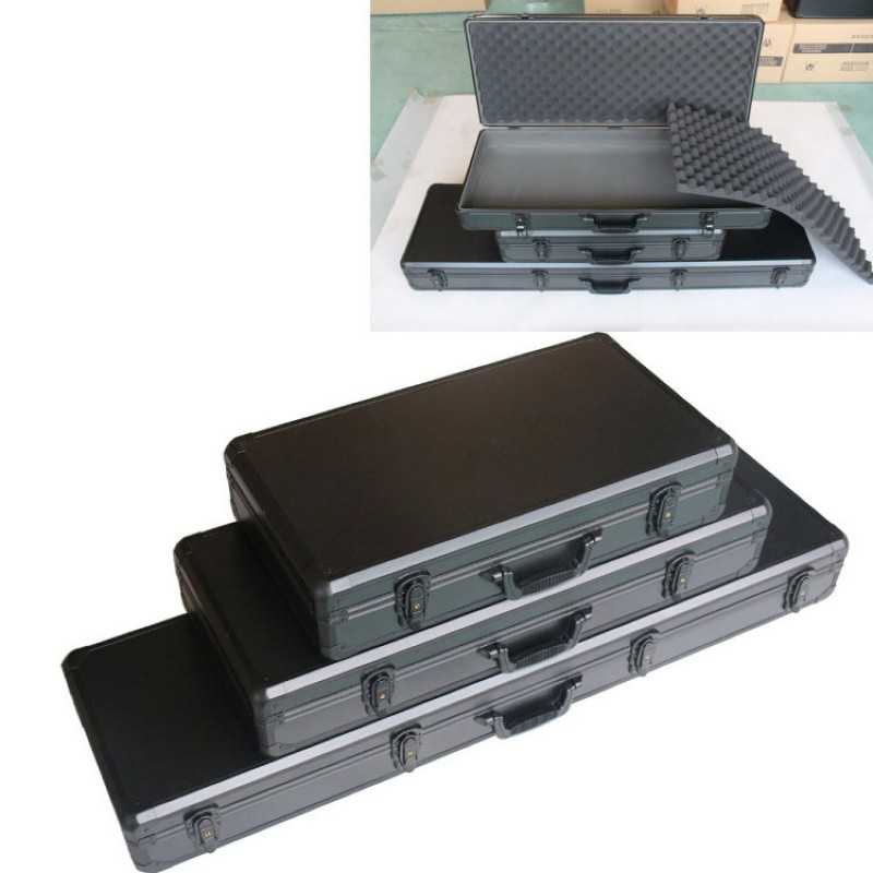 Long Aluminum Alloy Toolbox Impact Resistance Safety Box Instrument Case Suitcase Fish Rod Model Case With Shockproof Sponge