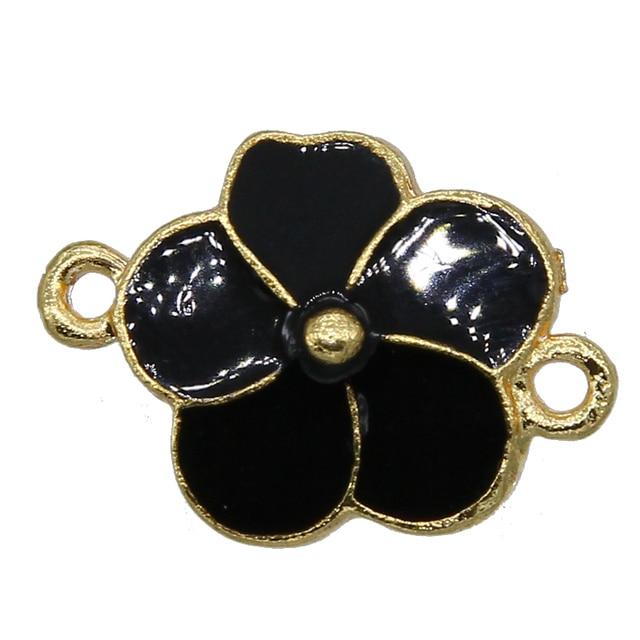 Double trou en fleur de pêche, 6 pièces/lot, pendentif fleur en émail, accessoires en fleur de collier pour collier, accessoire fait à la main, DIY