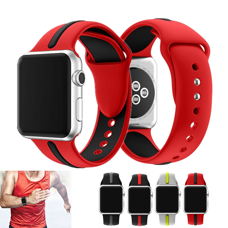 ASHEI Soft Strap For Apple Watch Band Silicone 42mm Series 3 Series 2/1 Stripe Color Watchband For iWatch Sport Straps 38mm Belt jansin 22mm watchband for garmin fenix 5 easy fit silicone replacement band sports silicone wristband for forerunner 935 gps