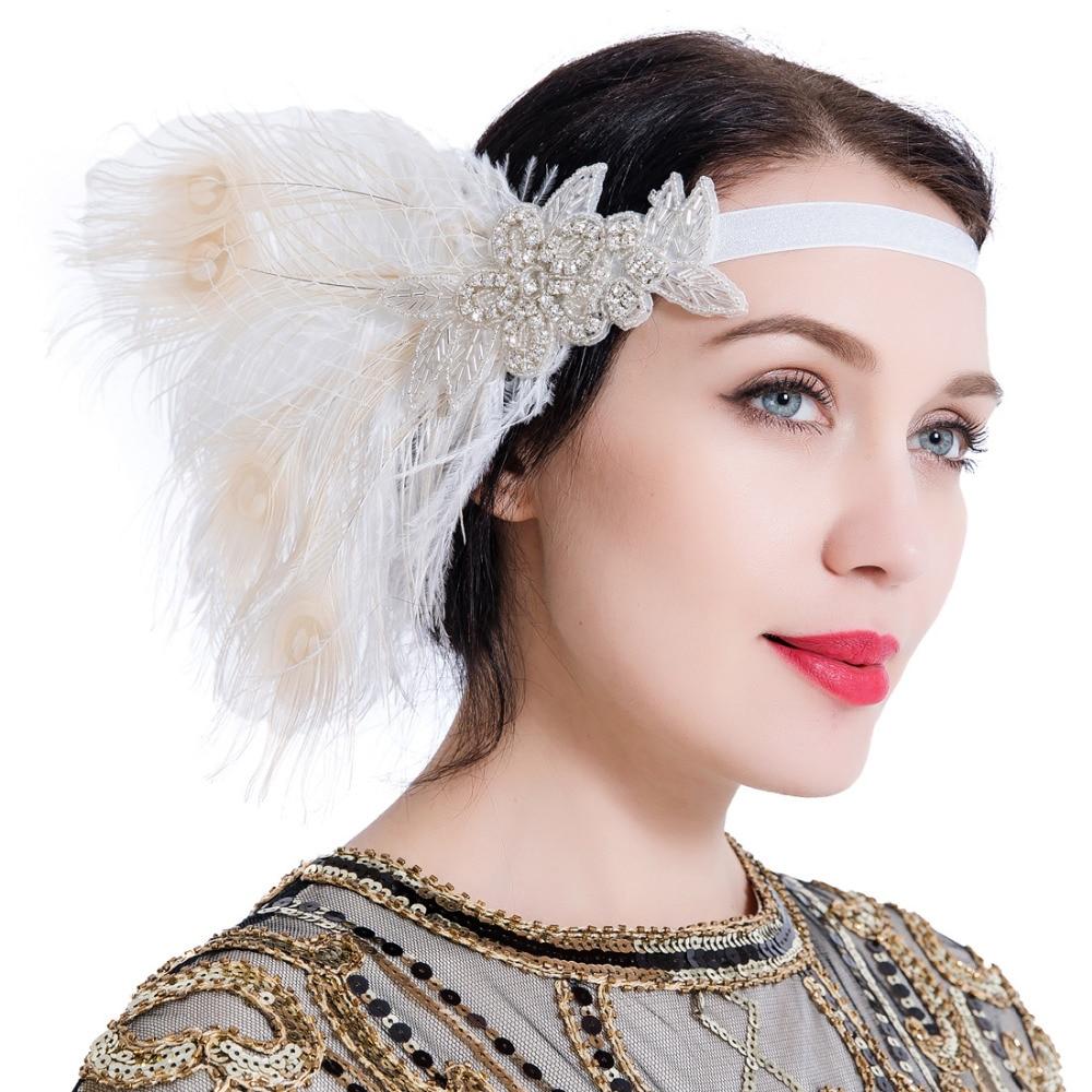 Women Vintage Great Gatsby Headband 1920s Feather Hair Headpiece Rhinestone Decoration Fancy Dress Fascinator for Party headpiece