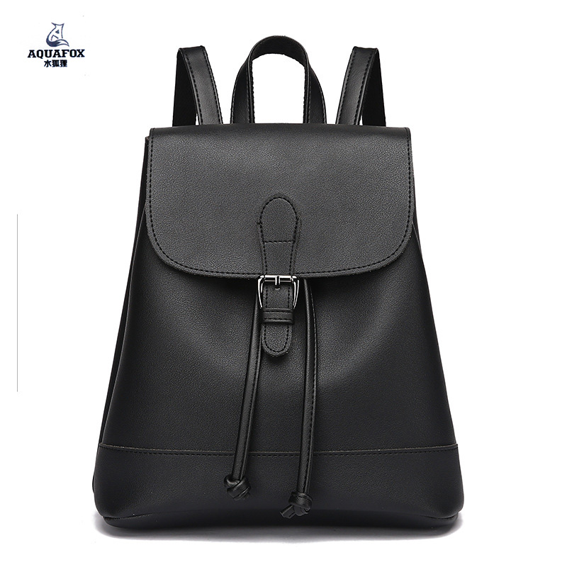 Aquafox 2017 new arrival preppy style women and teenagers backpack flap buckle high quality pu leather