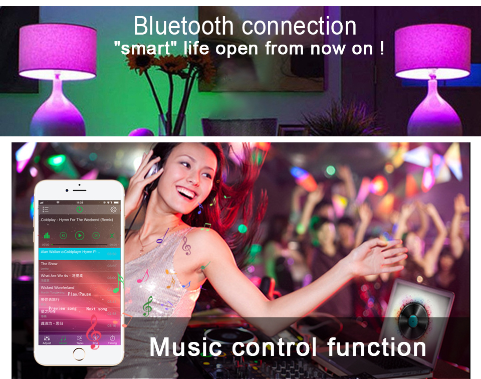 85-265V E27 LED Lamp RGB 15W Bluetooth APP Wifi Control Smart Bulb 10W RGBW RGBWW Light Bulb IR Remote Control Home Lighting (13)