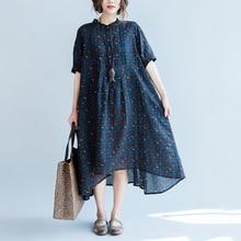 Large Size Robe Femme Comfortable Cotton Women's Dresses Loose Tunics Women Print Floral Vestido Longo Retro Midi Dress