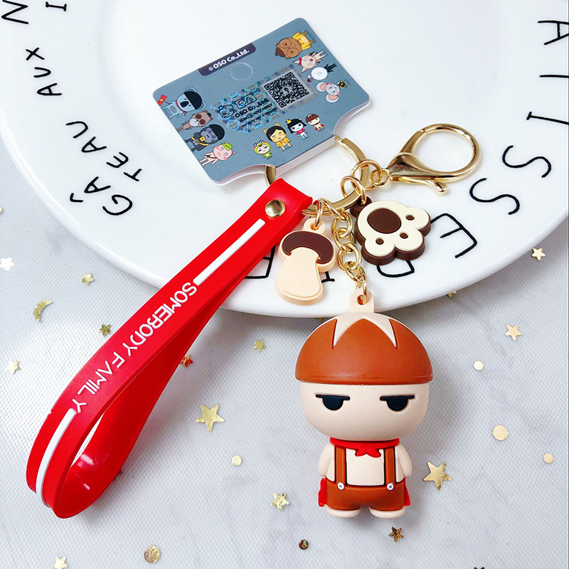 Outsider family Keychain PVC Cartoon Doll Keyring Holder Bag Charm Trinket Chaveiros Bulldog Bag Accessories Key Chain Pendant in Key Chains from Jewelry Accessories