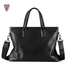 TIANHOO genuine leather men tote fashion business work briefcase first layer cow hand bag for 14 inch laptop