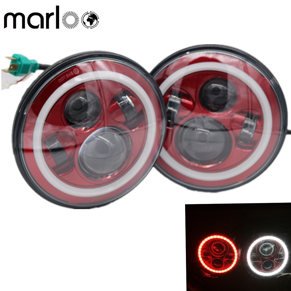 Marloo Red 7 Projector LED Headlight Red DRL Angel Eyes For Jeep Wrangler TJ JK/JKU Rubicon Sahara