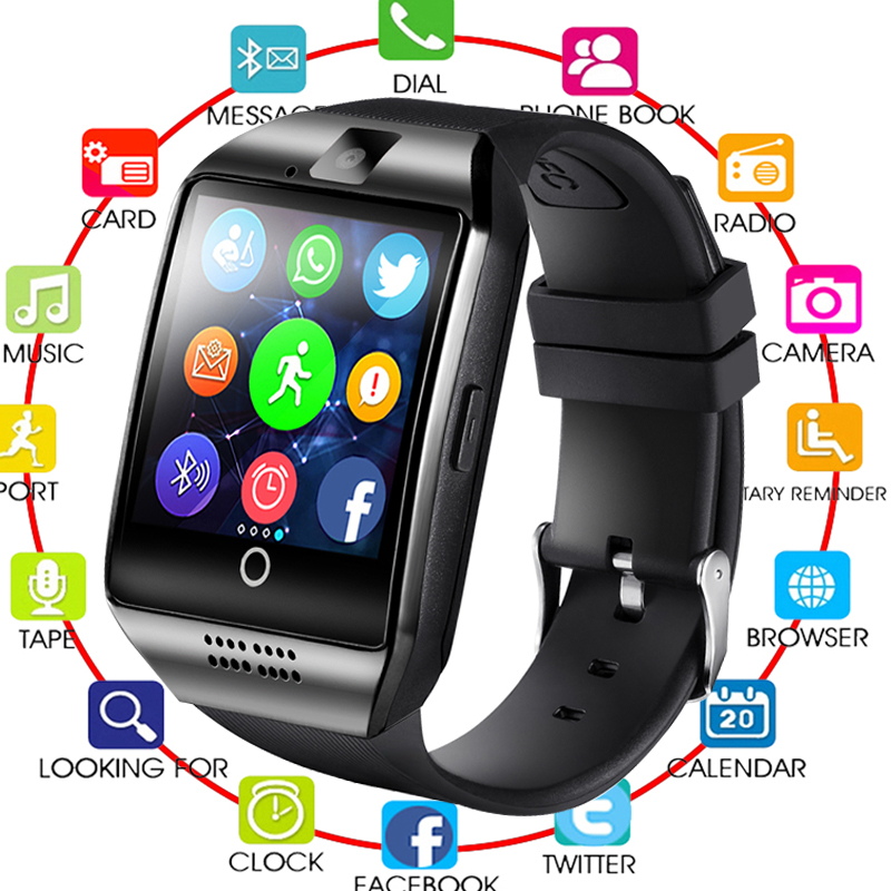 2019 QUNIWO Bluetooth Smart Watch Men Q18 With Touch Screen Big Battery Support TF Sim Card Camera for Android Phone Men Watch2019 QUNIWO Bluetooth Smart Watch Men Q18 With Touch Screen Big Battery Support TF Sim Card Camera for Android Phone Men Watch