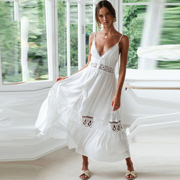d83699b5d 2019 verano Sexy Correa mujer sin espalda Maxi Vintage encaje Vintage  Vestido Vintage de cuello en