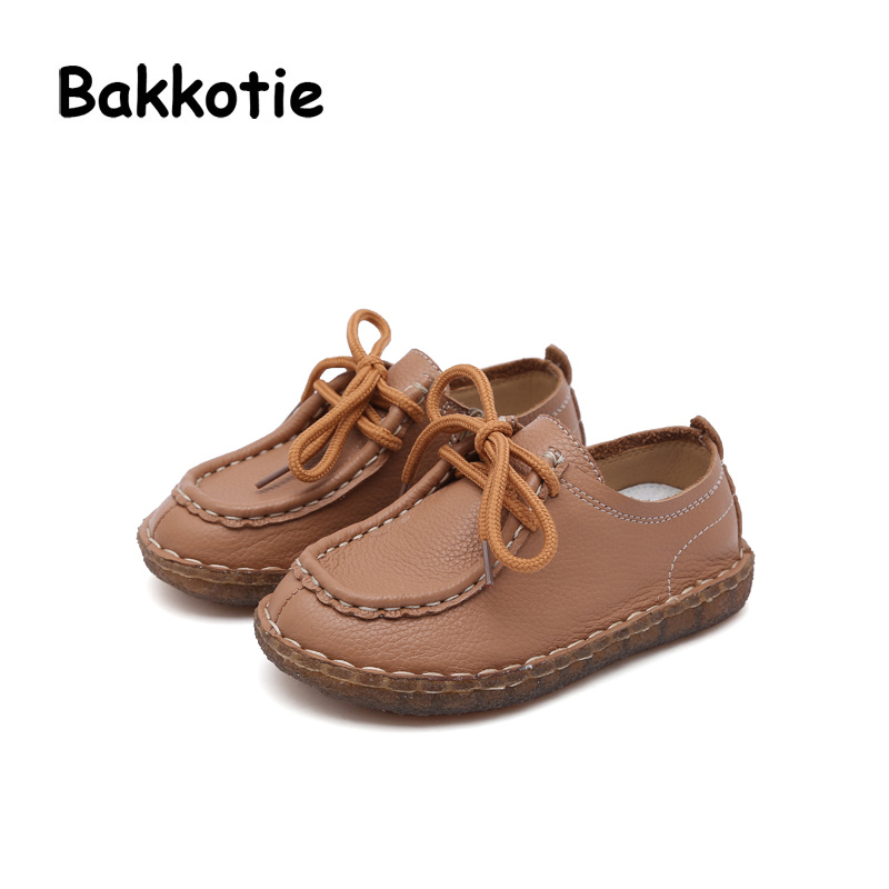 Bakkotie 2018 New Spring Autumn Fashion Leisure Genuine Leather Lace-up Child Baby Shoe White Flat kid Brand Girl Soft Sole