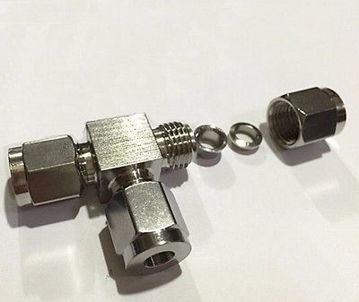 Tee 3 Ways 304 Stainless Steel Fit 8mm OD Tube Coupler Adapter Connector Compression Fitting For Tubing
