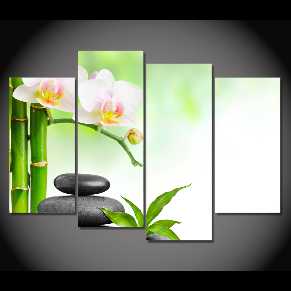 Spa Wall Art aliexpress : buy 4 panel canvas painting canvas art spa flower