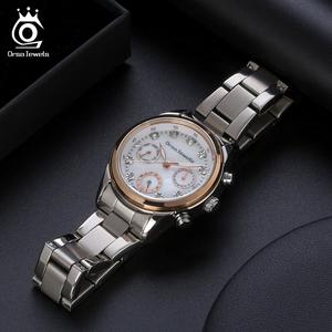 Image 2 - ORSA MÜCEVHER 316L Paslanmaz Çelik Kadın Izle Moda Bayan kuvars bilek saatleri Gümüş Renk Bilezik Su Geçirmez Izle OOW11