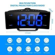 Зеркало светодиодный цифровые электронные таблицы часы настольные часы проектор с Время цифровой FM радио часы проекционные часы-будильник