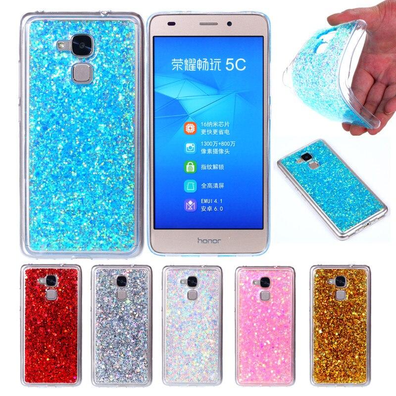 Huawei Honra 5C Honor5C Jogar Nem-L51 Colorido Brilhante Soft Case Silicone TPU com Glitter Brilhante de Volta Caso Capa para Huawei 5C