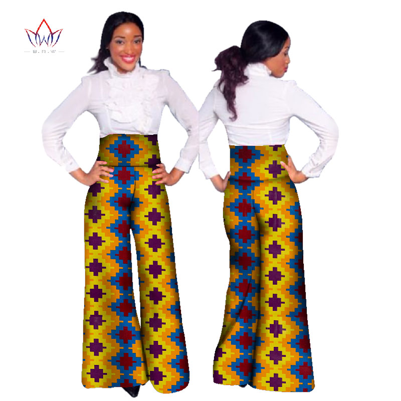 Dashiki African Print High Waist Loose Straight   Pants   African Clothing for Women Bazin Riche Office   Wide     Leg     Pants   WY1042