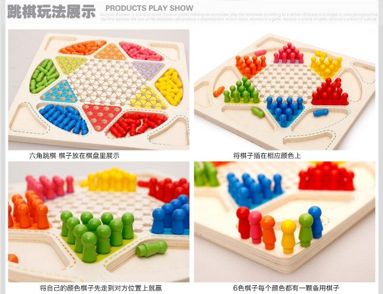 Brinquedos de madeira infantis educativos crianças blocos de construção damasvôo xadrez