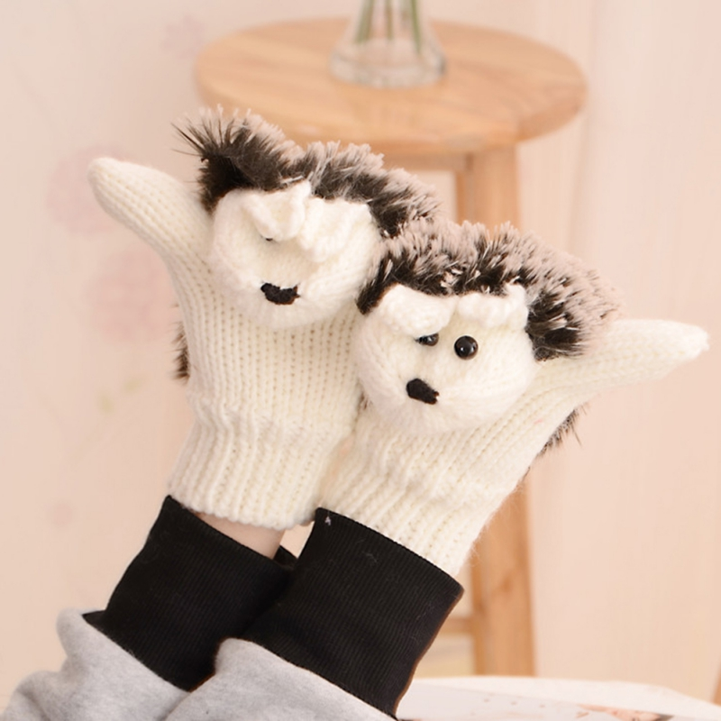 New 8 Colors Girls Novelty Cartoon Winter Gloves for Women Knit Warm Fitness Gloves Hedgehog Heated Villus Wrist Mittens