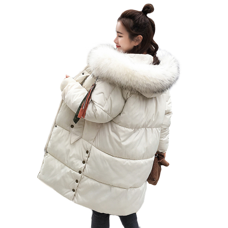New Fashion Plus Size Loose Solid Big Fur Collar Women Winter Coat Thick Down   Parka   Long Winter Down Cotton Jacket Outwear 2019