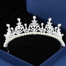 Luxury Silver Rhinestone Wedding Tiara Crown Pearl Queen Diadem Bride Headpiece Hair Accessories High Qualig