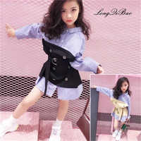 girl shirt autumn new children's striped stitching fake two-piece suit with belt Korean version of the shirt children's clothes