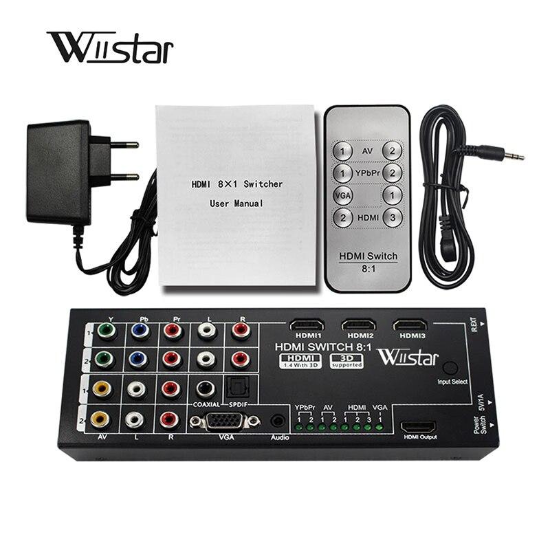 Wiistari digitaalne multifunktsionaalne HDMI-muundur, millel on 8 sisendit 1 HDMI-väljundisse (VGA + AV + Ypbpr komponent + HDMI) kuni 1 hdmi