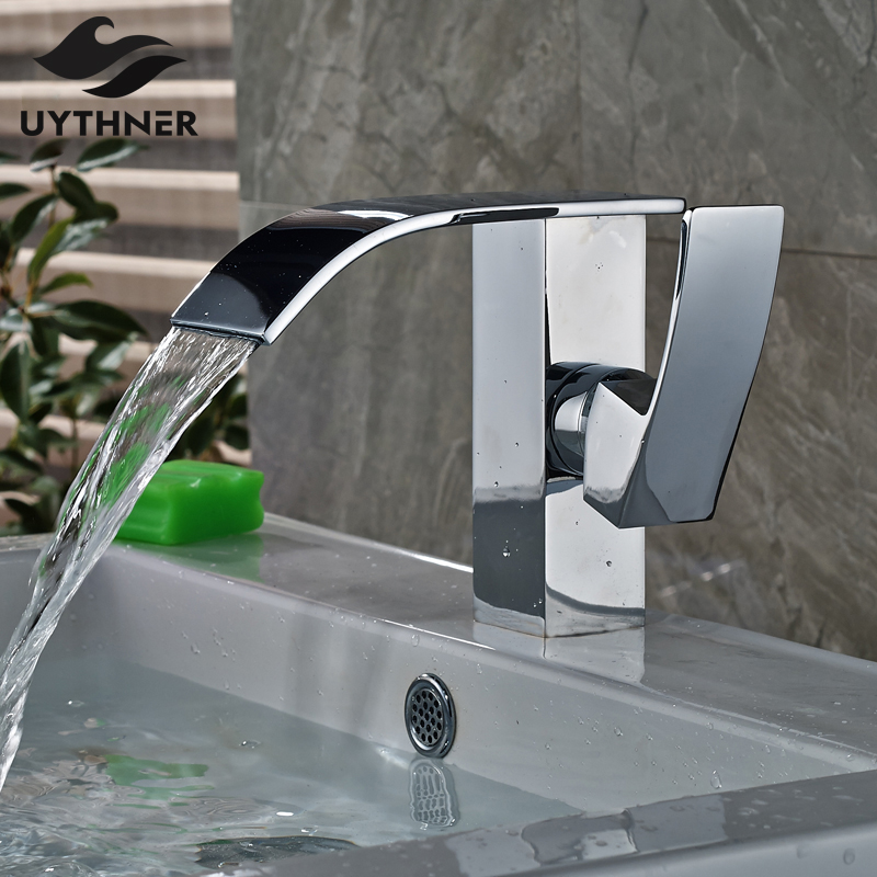 Solid Brass Waterfall Bathroom Chrome Finish Basin Sink Faucet Single Handle Mixer Tap Deck Mounted chrome finished bathroom sink tub faucet single handle waterfall spout mixer tap solid brass page 1