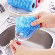 1 cuộn Vải Không Dệt Khăn Lau Nhà Bếp Micro Vải Dùng Một Lần Sọc Thiết Thực Giẻ Lau Chua Miếng Lót Giặt Vệ Sinh Vải Khăn