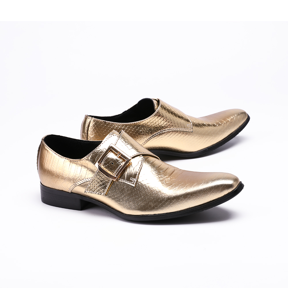Big Size Buckle Men Formal Shoes Snakeskin Pattern Men Party Shoes Handwork Genuine Leather Men Brogue Shoes