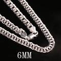 2016 Оптовые Ювелирные изделия 100% Стерлингового Серебра 925 6 мм мужской 20-24 дюймов цепи ожерелье подарок обуздать