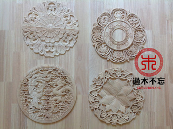 Wood dongyang wood carving fashion circle flower wood eight treasures applique fireplace round flower gate flower